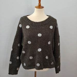 ANTHROPOLOGIE JOA Chunky Knit Gray Sweater Size M
